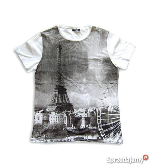 Super Koszulka z nadrukiem, t-shirt paryż,fajna koszulka L bawełn AW13