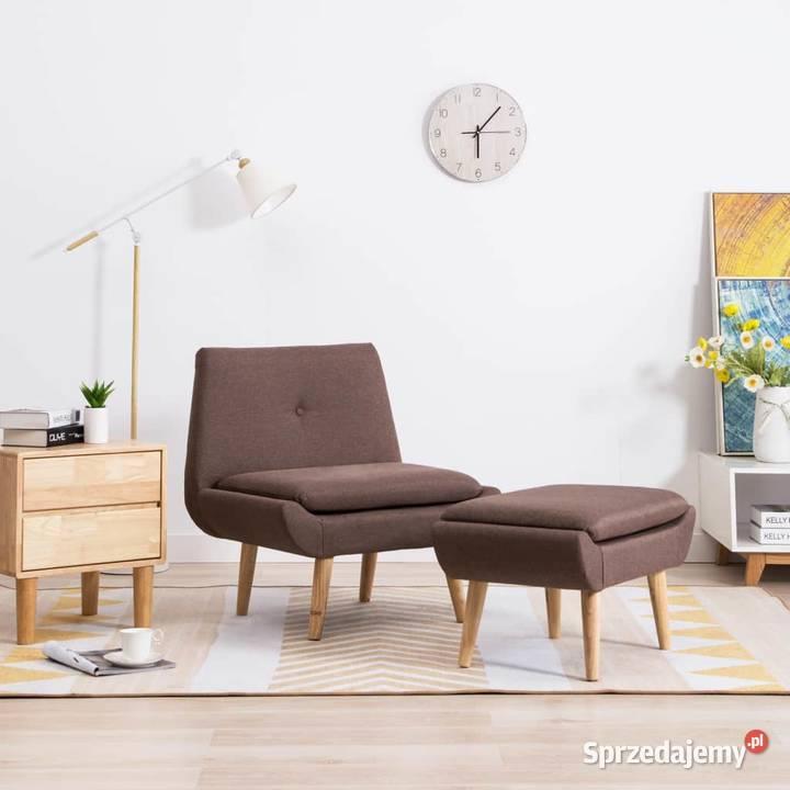 vidaXL Fotel z podnóżkiem, brązowy, tkanina (246980)