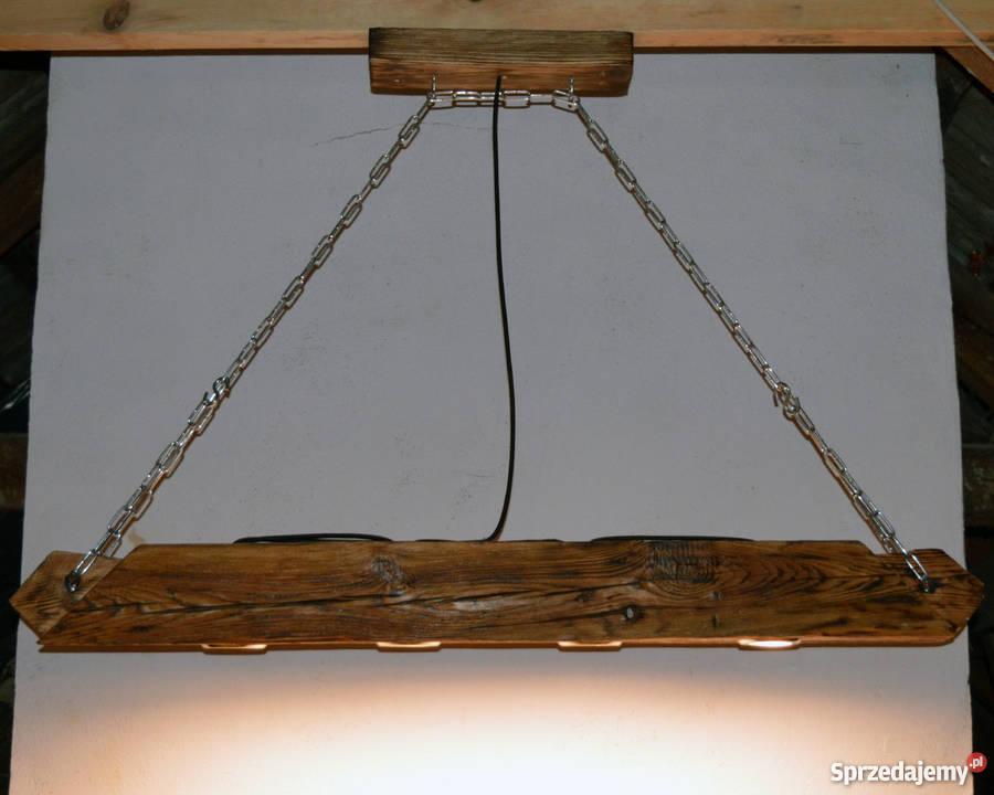 Lampa wisząca Belka drewniana LOFT VINTAGE odcienie brązowego