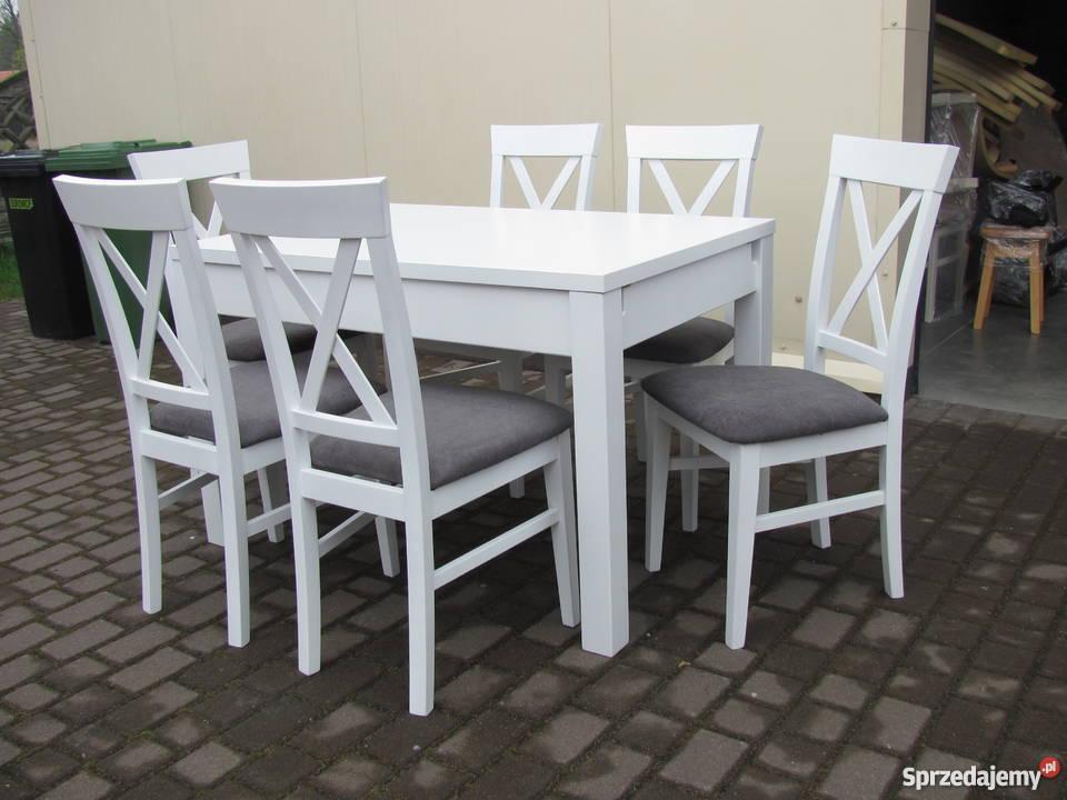 Stół 120x80/190 i 4 krzesła biały prowansalski rozkładany