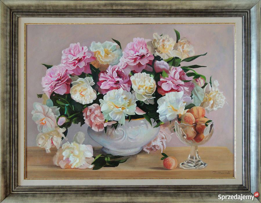 Obraz olejny kwiaty peonie piwonie z ramą Tomasz Antyki, Sztuka, Kolekcje