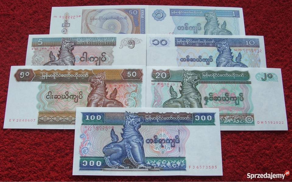 MYANMAR 2 Kolekcjonerskie Banknoty Zestaw 7