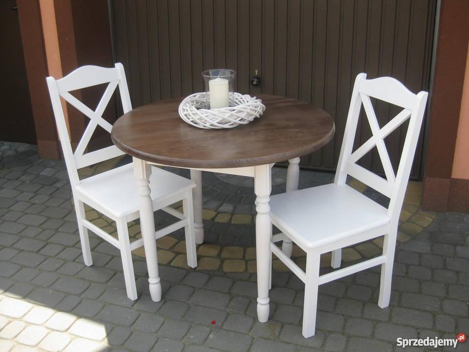 Ogromny Prowansalski stół okrągły 90 nogi toczone biały producent Warszawa EH81