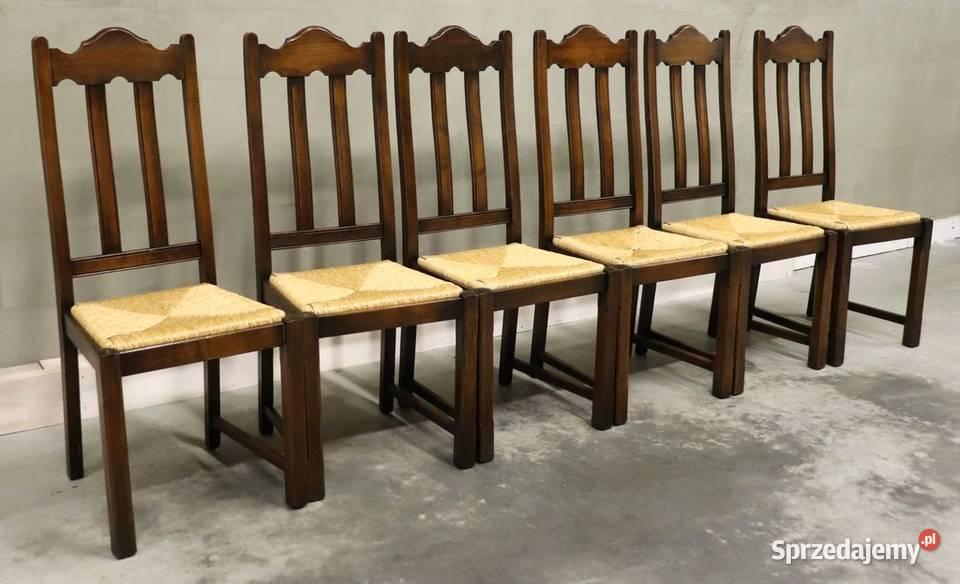 2386 solidne krzesła z plecionką, kpl 6 szt