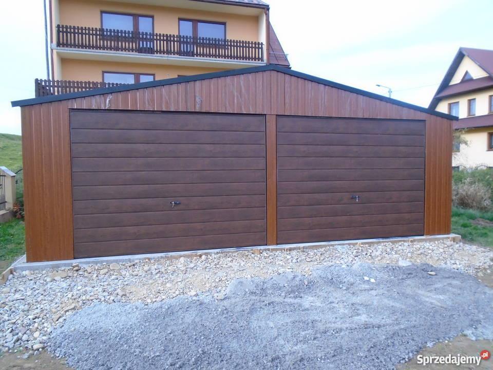 Garaż blaszany 7x5 blacha orzech złoty dąb Architektura ogrodowa Limanowa