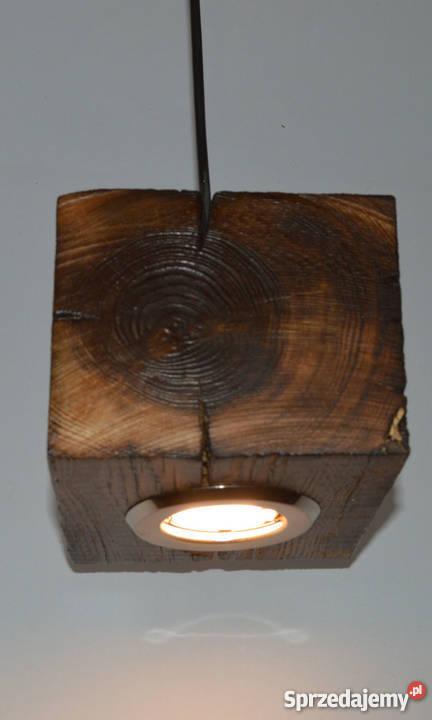 Lampa Wisząca Z Drewnianego Klocka Loft Vintage