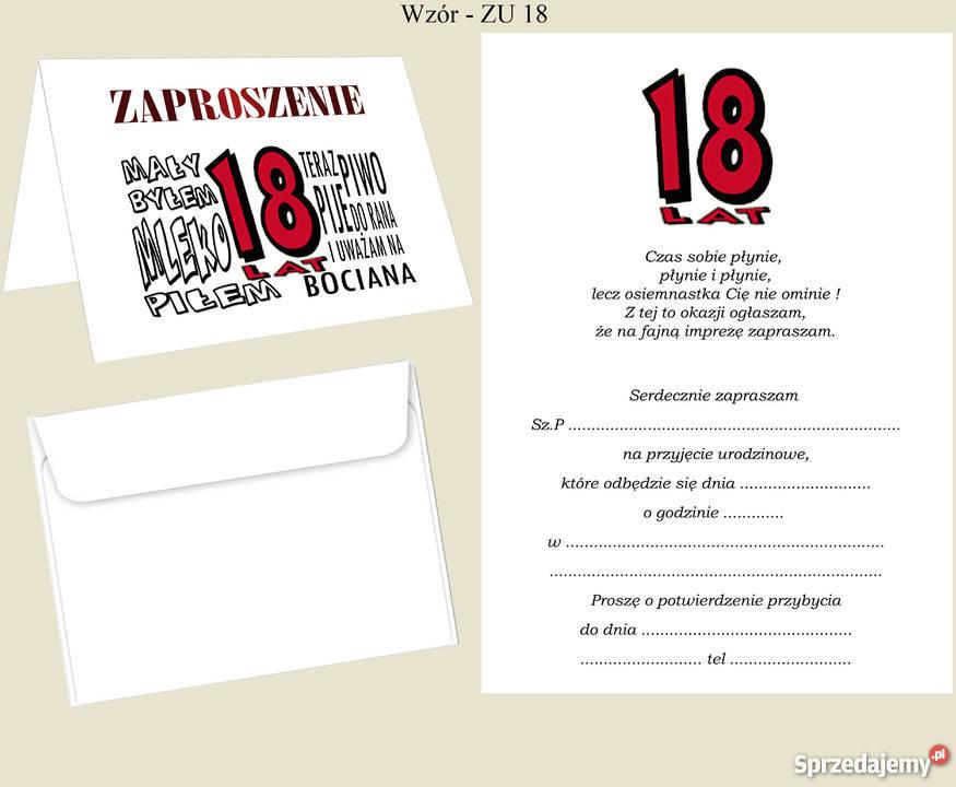 Zaproszenia Urodziny 18 30 40 50 Koperty Dąbrowa Górnicza sprzedam