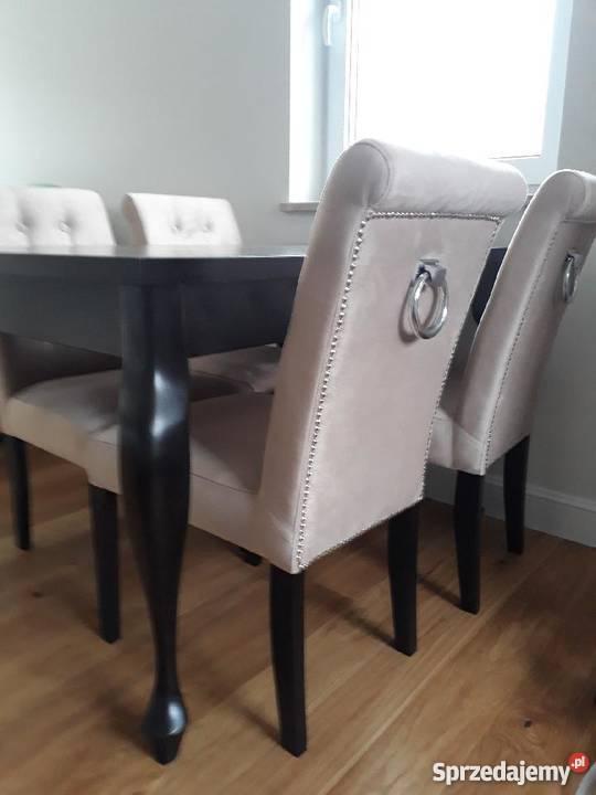 Dodatkowe Krzesło tapicerowane pikowane z kołatką pinezkami glamour Katowice TD35