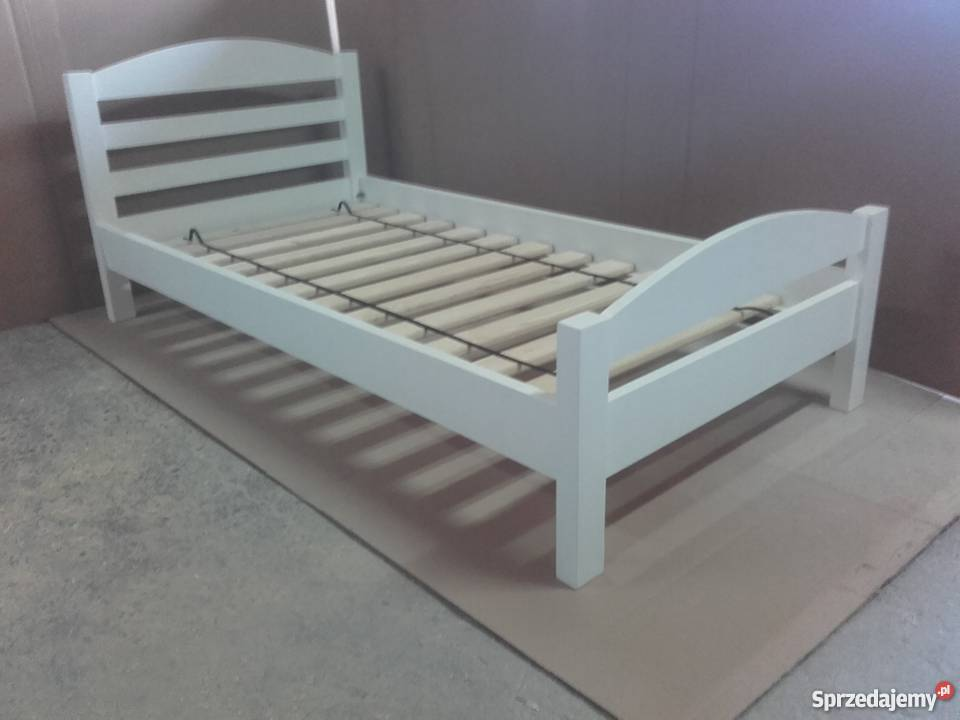 Łóżko drewniane białe 80x160