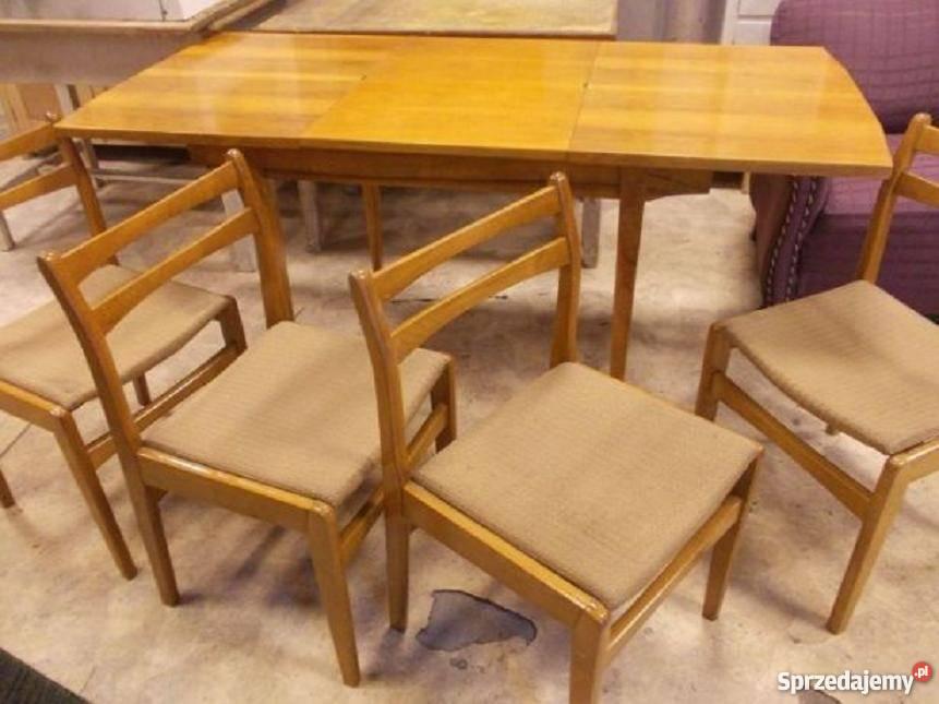 Stół rozkładany i 4 krzesła PRL industrialne