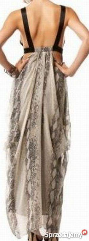 8382ecb627 piękna sukienka boho Bebe Lionesse USA XS S wężowa jedwab Szczurowa ...