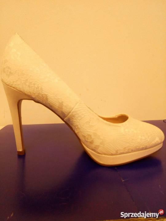 Białe szpilki look ślubne 43 New Look