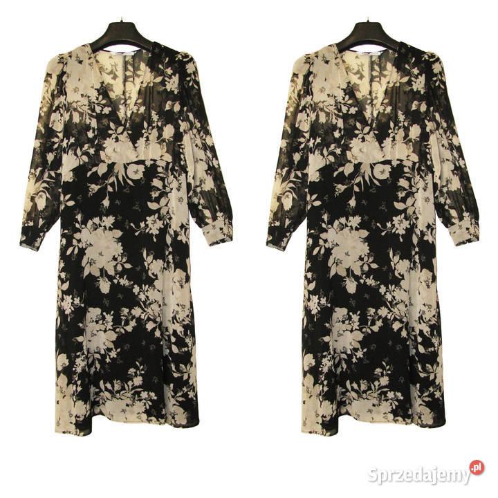 Zara długa zwiewna czarna sukienka w kwiaty r. M