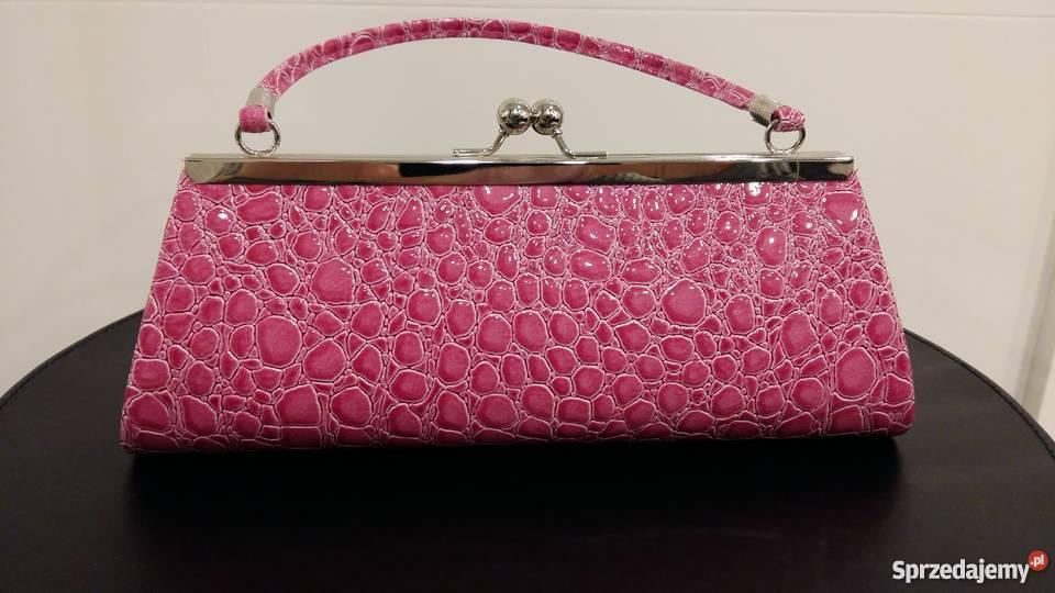 4364696d0097c Nowa wizytowa różowa kopertówka imitująca skórę różowy Szeligi sprzedam