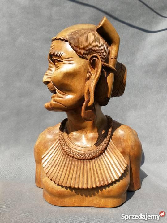 Rzeźba z drewna tekowego Popiersie 2