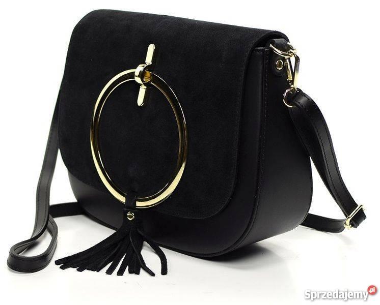 0b0ee07b915a6 Włoska listonoszka torebka z kołem czarny czarny Galanteria i dodatki  podkarpackie Rzeszów