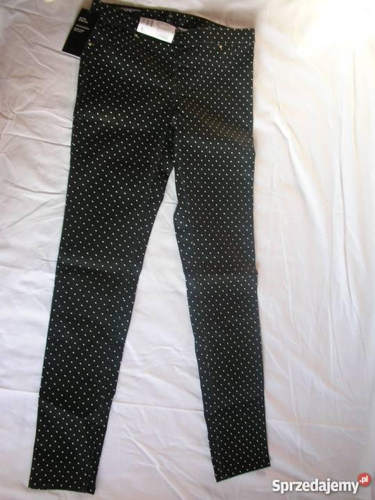 NOWE zmetką H&M Spodnie czarne w białe groszki kropki grochy