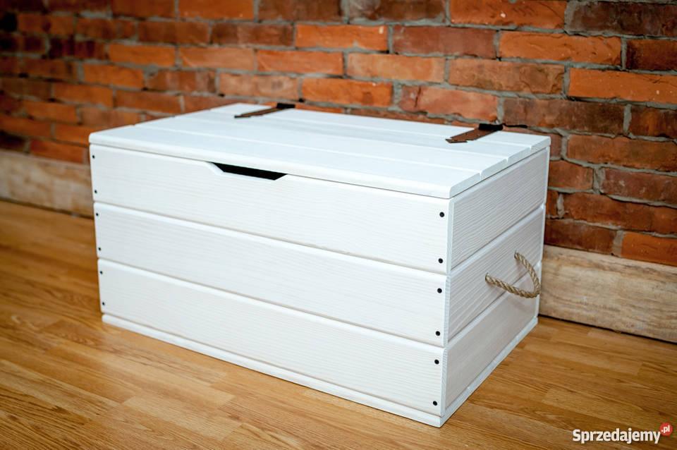 Kufer Drewniany Skrzynia Stolik Kawowy Schowek Biały