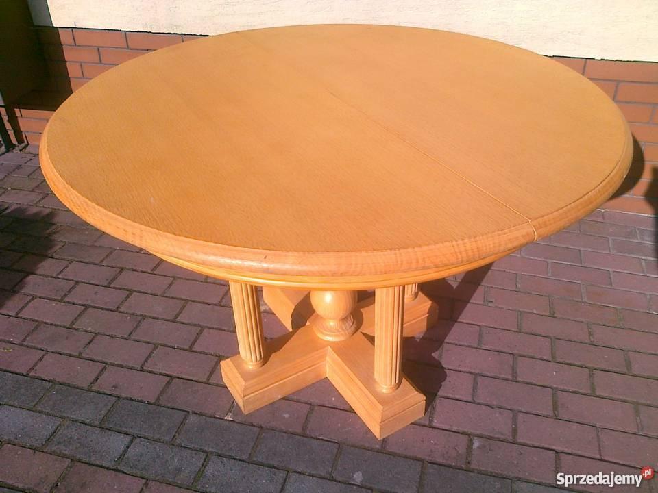 Stół okrągły drewniany jasny stan JAK NOWY krzesło 120 stoli