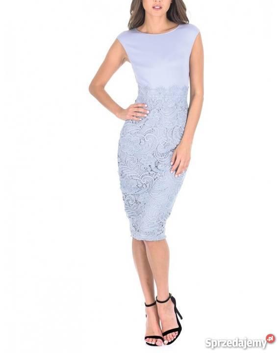 378663368b Szara ołówkowa sukienka midi z koronkową spódnicą Czeladź ...