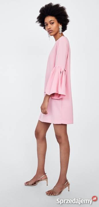 ZARA sukienka jasny róż z zakładkami na rękawach S