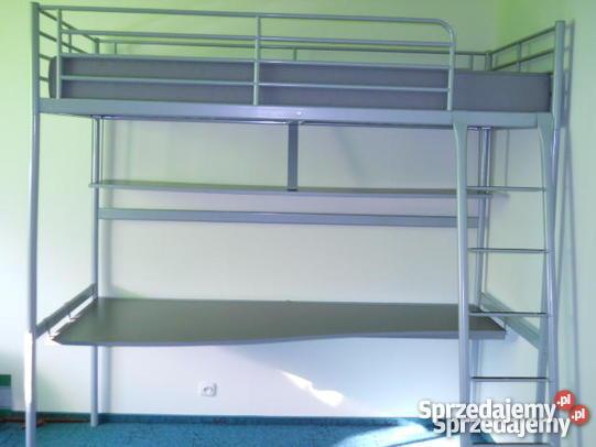 łóżko piętrowe metalowe z biurkiem Ikea Złocieniec sprzedam