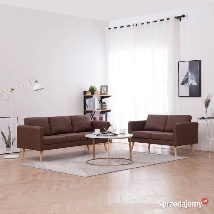 vidaXL Zestaw 2 sof tapicerowanych tkaniną, 276852