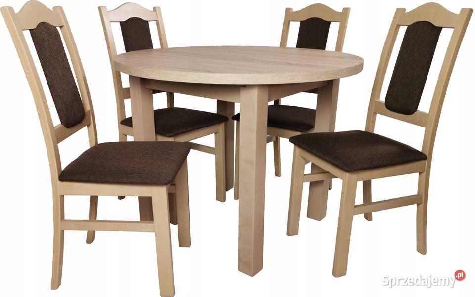 HIT!!! BIAŁY okrągły stół 100+40/140 cm i 4 krzesła TANIO!