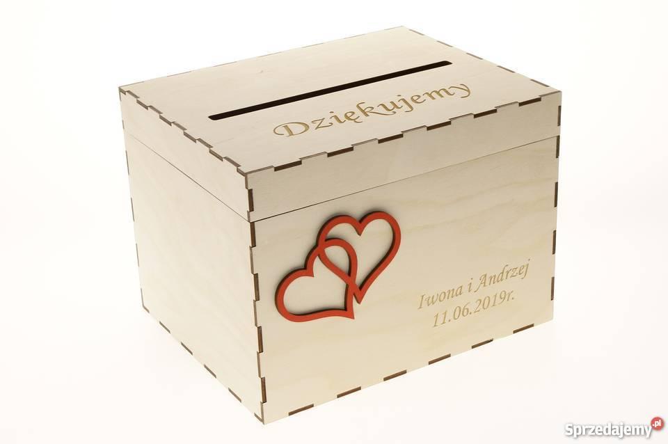 Drewniane ślubne Pudełko na koperty kartki
