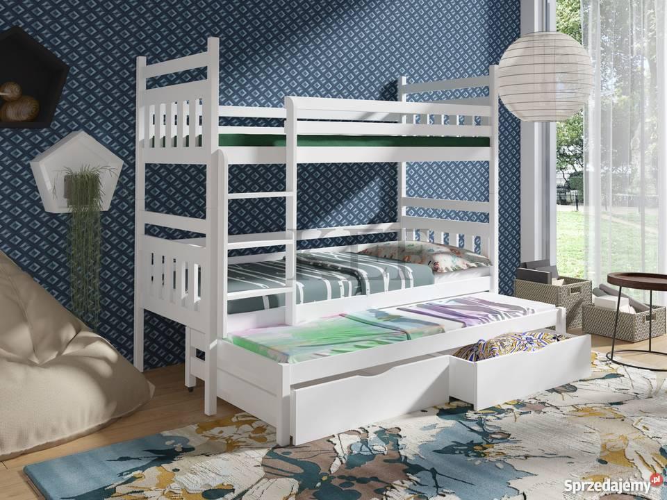 łóżko Piętrowe 3 Osobowe Tosia 80x180 Materace