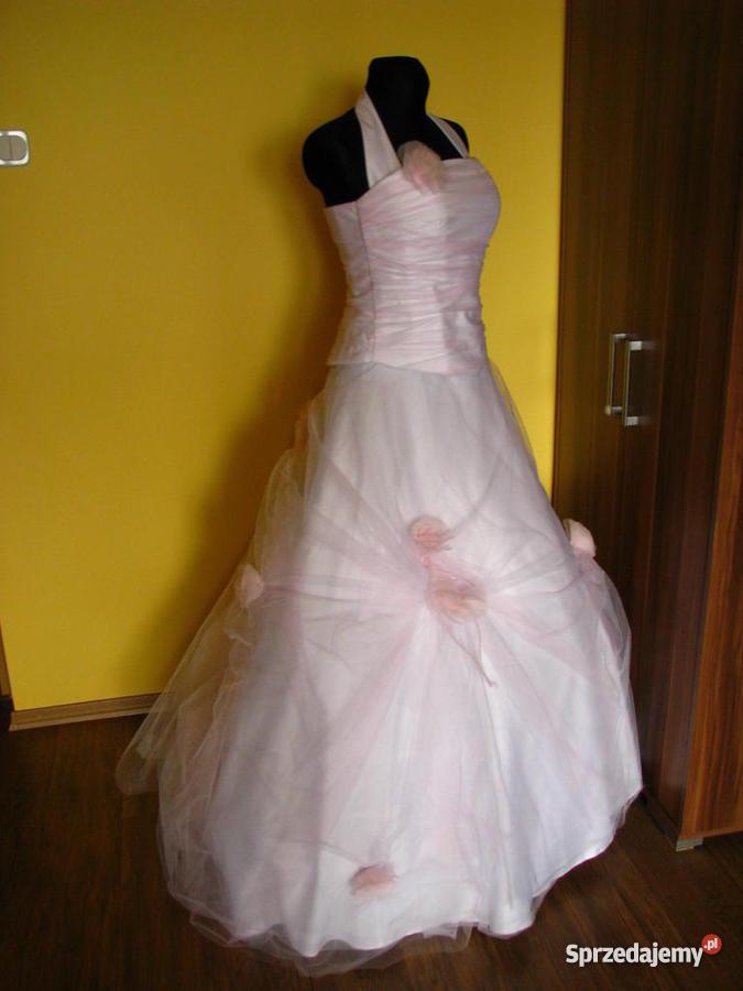 Biało Różowa Suknia ślubna Rozm 3840 Sprzedajemypl