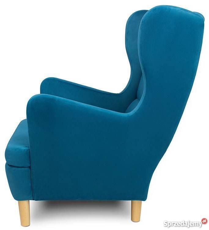 Fotel Uszak Do Salonu La01 Nowoczesny Niebieski
