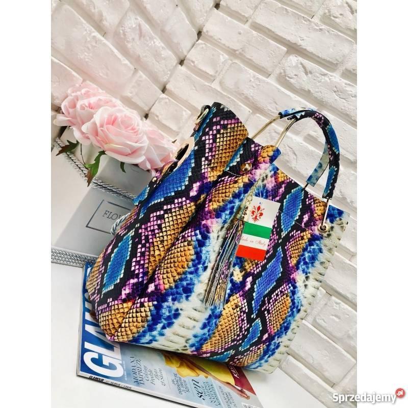 aac38506fb331 Włoska torebka skóra węża duży kuferek z frędzelkiem a la LV ...