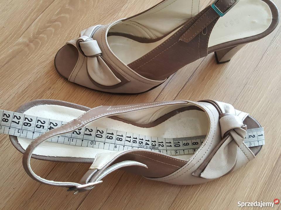 a028d357 SANDAŁKI na obcasie sandały kolor nude beż r 40 27cm Złotniki sprzedam