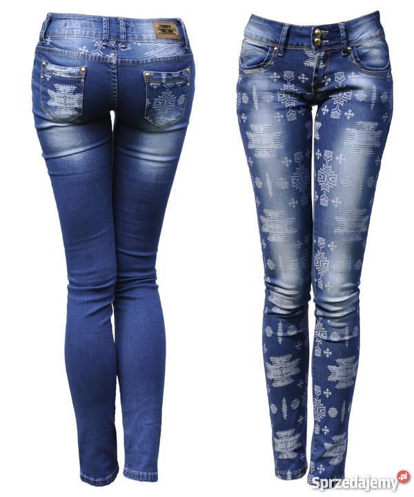 67fad35c Spodnie Jeans Azteckie Wzory Denim Dopasowane Rurki #317
