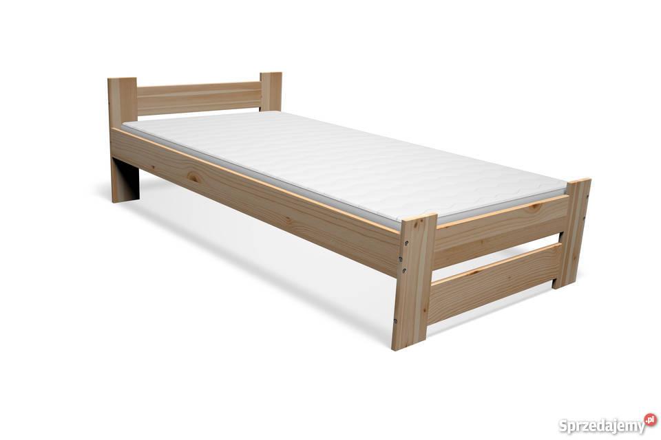 łóżko Drewniane Sosnowe 90x200 Stelaż Materac