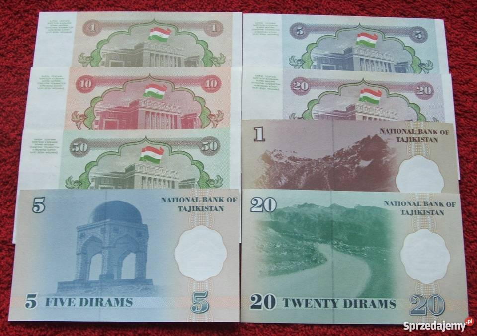 TADŻYKISTAN Kolekcjonerskie Banknoty Zestaw 8 śląskie Katowice