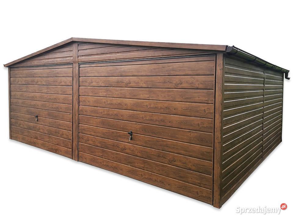 Garaż Drewnopodobny Orzech Mat 6x6 Dwuspadowy Dach Bramy