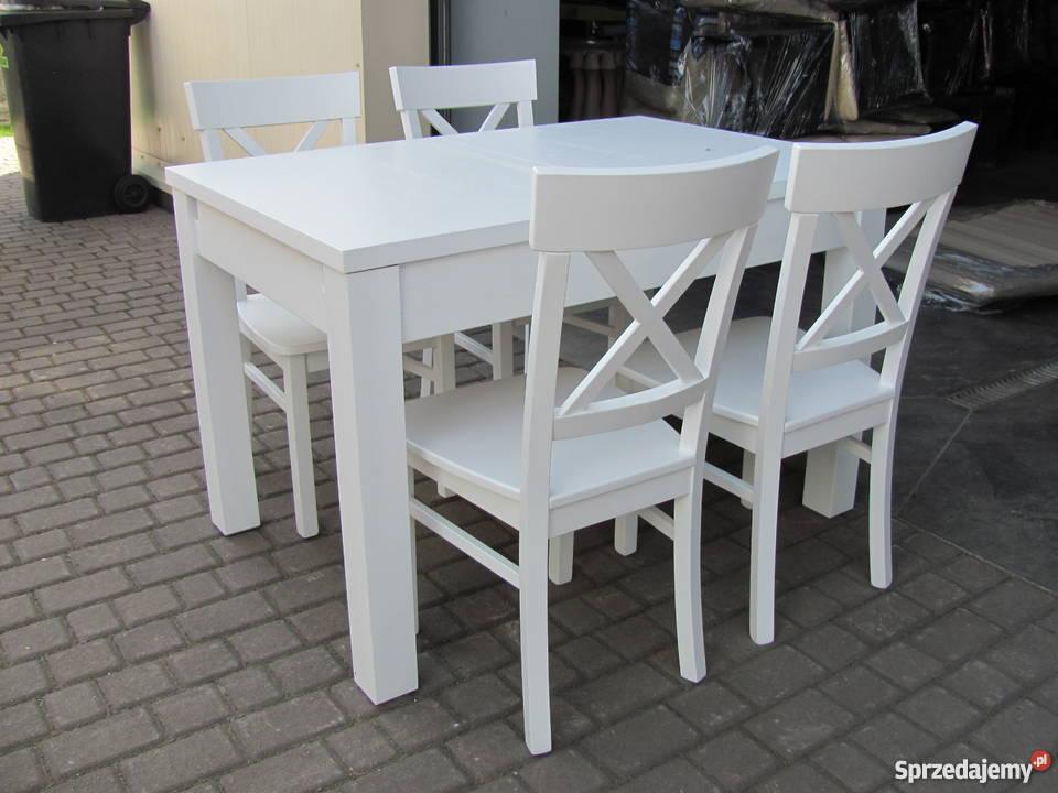Zestaw prowansalski stół 140x90/210 i 6 krzeseł biały rozkła