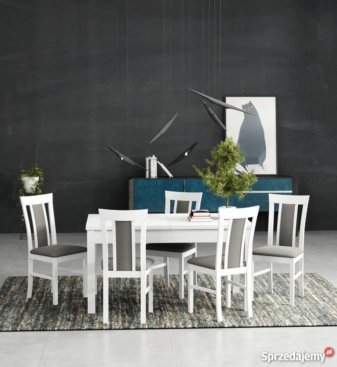 Biały Zestaw,Stół 80/140/180 + 6 Krzeseł - Promocja!