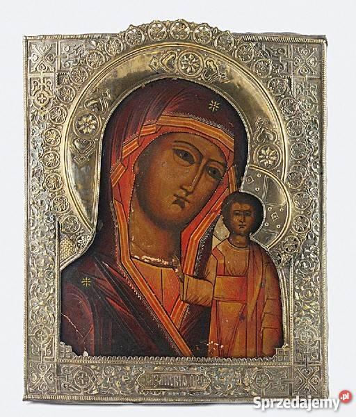 Genialny Ikona - Matka Boska Kazańska, z ozdobnym okuciem tempera na XO78