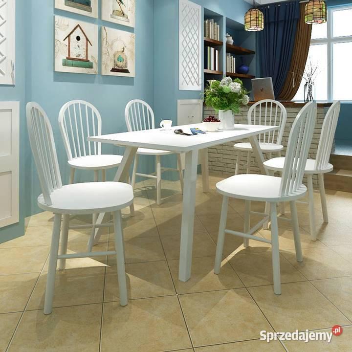 vidaXL Krzesła stołowe, 6 szt., białe, lite drewno (272090)