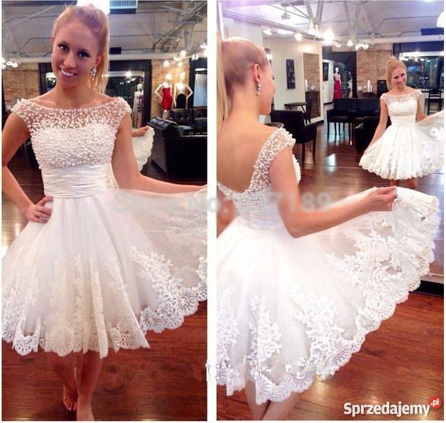 5781860f2d KRÓTKA suknia sukienka ślubna wesele 36 S 38 M biały dolnośląskie Jelenia  Góra