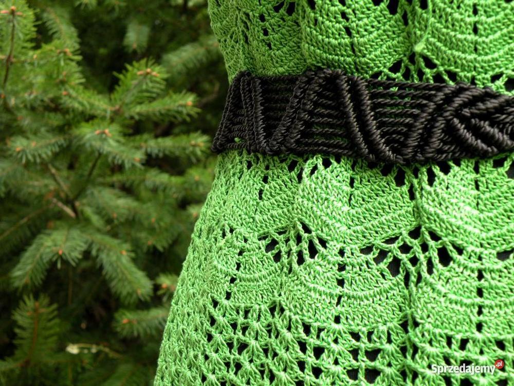 Zielona sukienka na szydełku handmade Inny wzór Warszawa