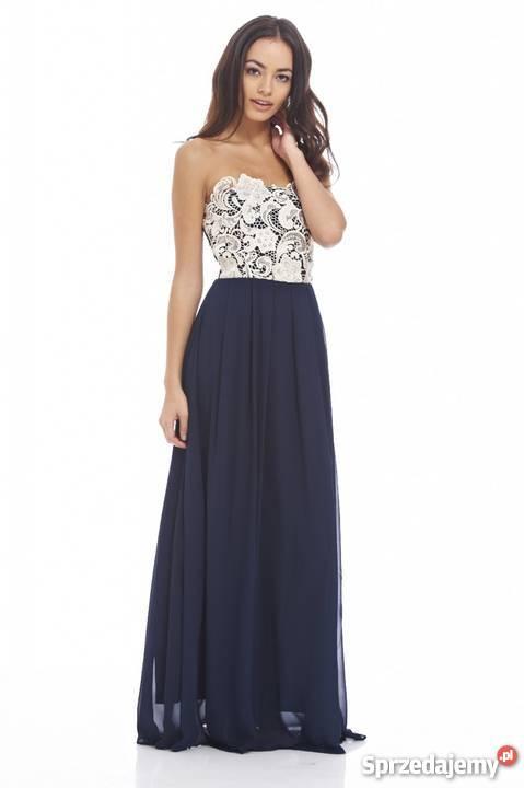 556a79d001 Granatowa długa sukienka bez ramiączek z koronkowym beżowym Czeladź ...