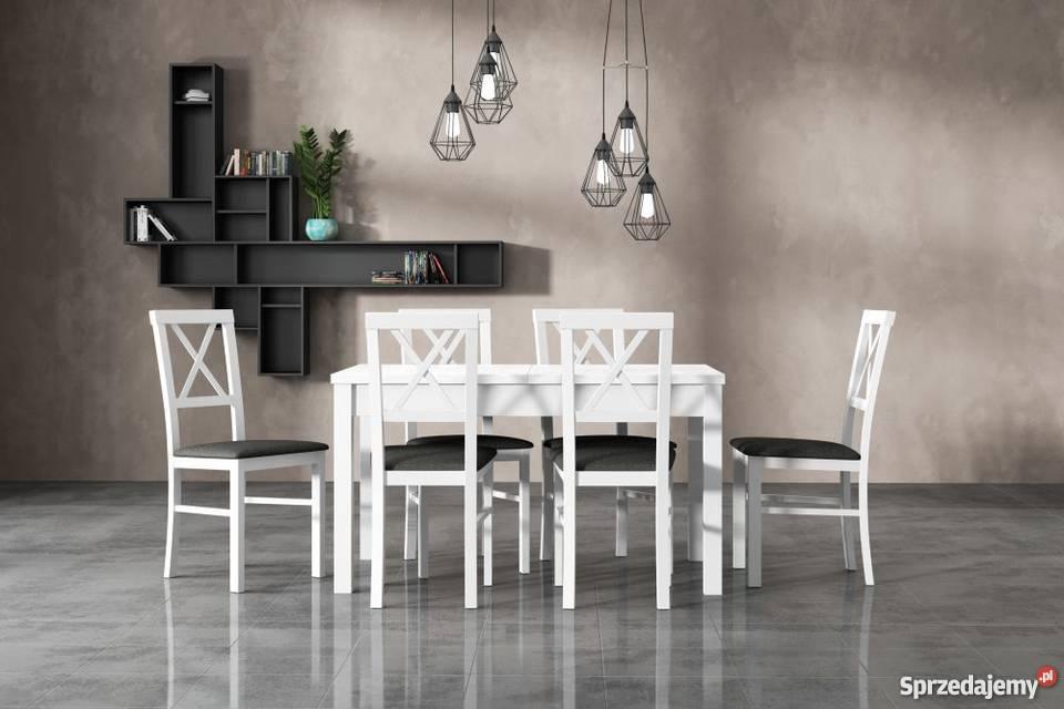 Biały Zestaw,Stół 80/140/180 z 6 krzesłami!