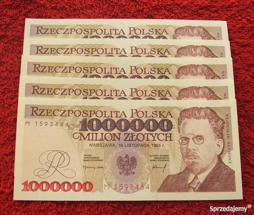 W superbly POLSKA PRL 1000000 ZŁ WŁADYSŁAW REYMONT (2) Banknot UNC Katowice RP81