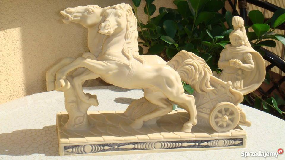 Rydwan rzeźba sygnowana konie z alabastru antyk Lublin