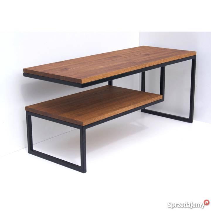 Stolik Kawowy Loft Stal Dąb Metal Drewno ława Stół