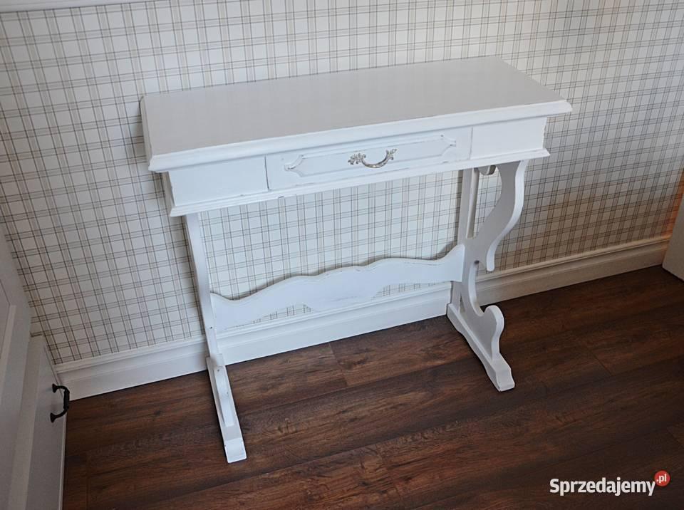 szafka nocna, stolik, stylowa, przecierana, biała